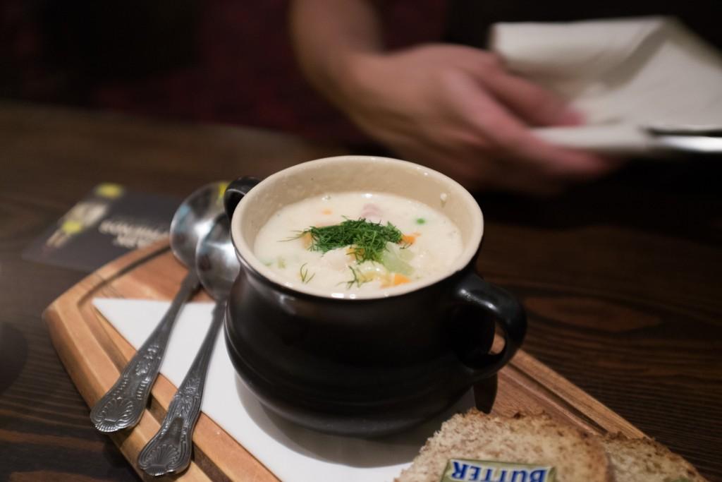 Delicious clam chowder.