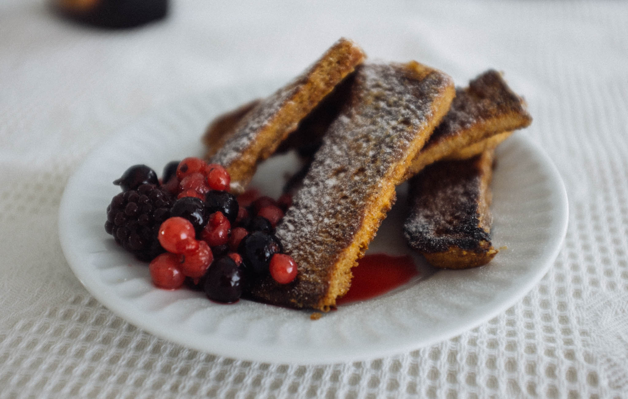 French toast and red berries.